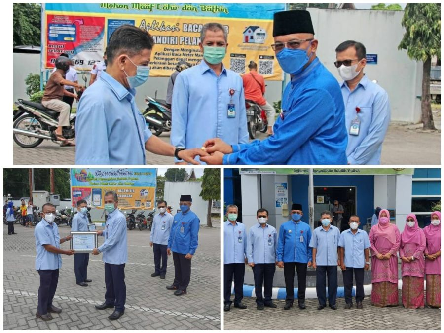 Jelang Idul Fitri Dirut Perumda AM Padang Pimpin Apel Pagi, Lepas Purna Tugas 2 Karyawan Terbaik
