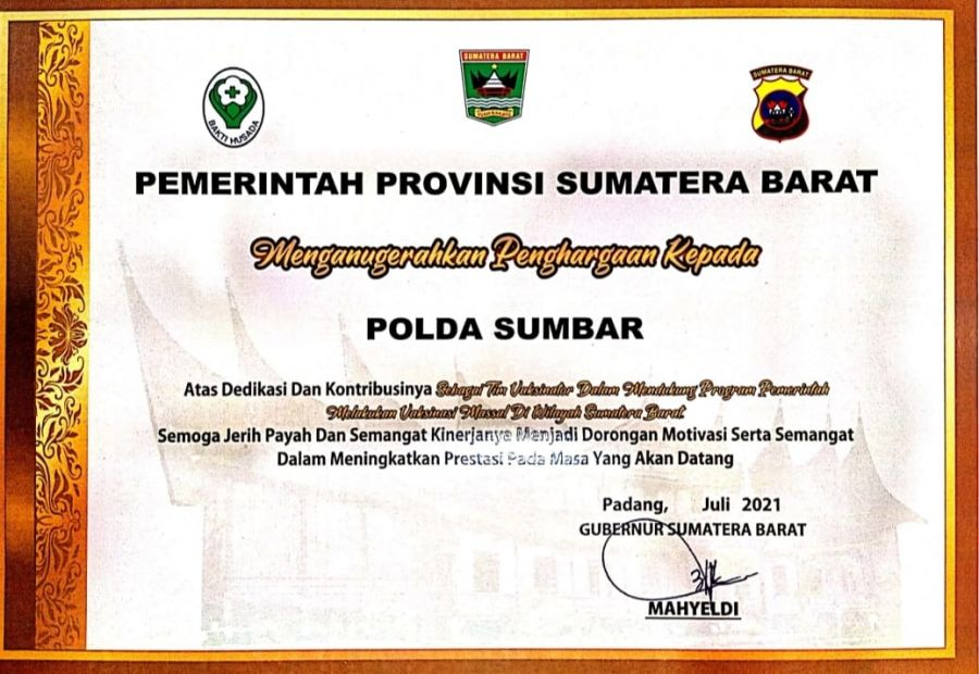 Polda Sumbar Terima Penghargaan dari Pemerintah Provinsi Sumatera Barat