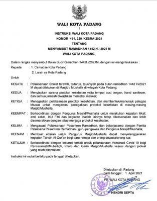 Agar Ramadhan 1442 H Berjalan Lancar, Plt Wali Kota Padang Terbitkan Instruksi