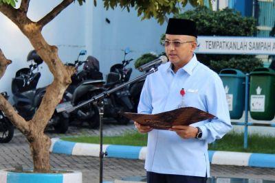 Perumda AM Kota Padang Laksanakan Upacara Bendera Perdana di Masa Pandemi