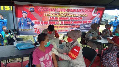 Ratusan Warga di Nagari Sungai Pinang terima Vaksinasi dari Polda Sumbar