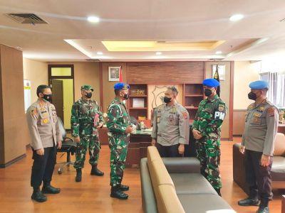 Sinergitas TNI dan Polri, Polda Sumbar sambut Kedatangan Danpomdam I/BB