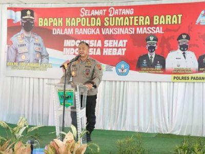 Wakapolda Sumbar tinjau Vaksinasi di SMA 1 2X11 Enam Lingkung Padang Pariaman